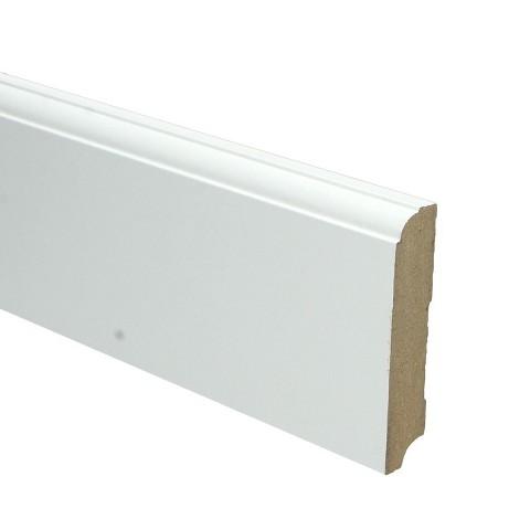 Plint kwartrondkraal wit gefolied 90x18x2400mm